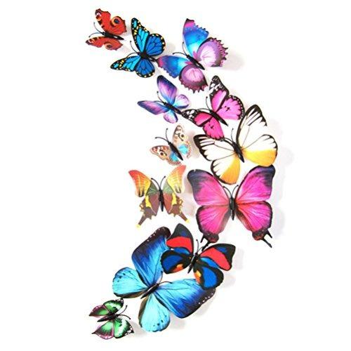 Hatop 12 Unids 3d Mariposa Etiqueta Engomada Del Diseño Del