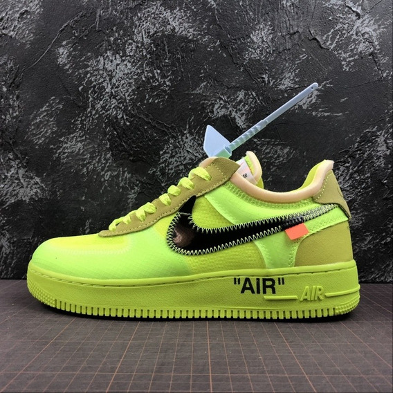 Tênis Nike Air Force 1 X Off-white Volt Pronta Entrega