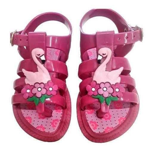 Sandália Infantil Bebê Menina Rosa Flamingo Beira Mar