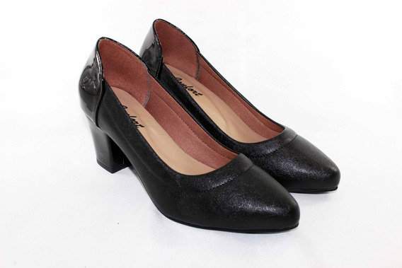 Sapato Scarpin Feminino Salto Baixo Confort, Elegante,