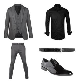 Camisa Entallada Con Traje Satinado Zapatos Y Cinto Import