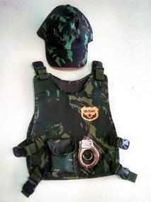 Fantasia Militar Infantil Colete + Boné + Algemas