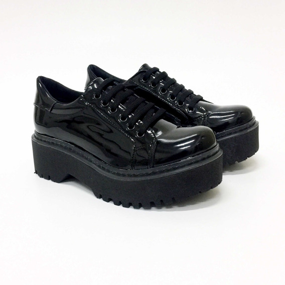Zapato Mujer Abotinado Acordonado Base Alta Estilo Dr Martens -ca 1080