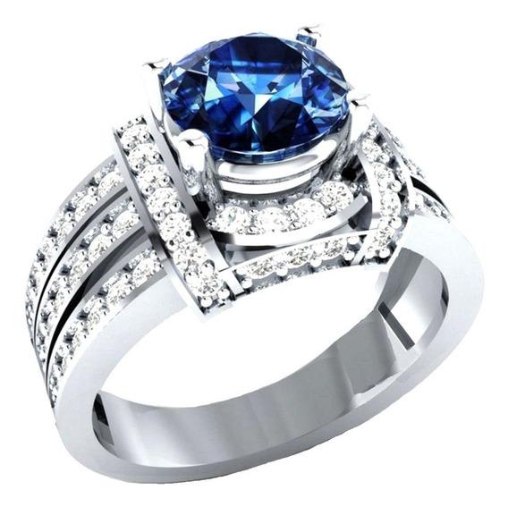 Anel Feminino Formatura Safira Azul Engenharia Curso 792