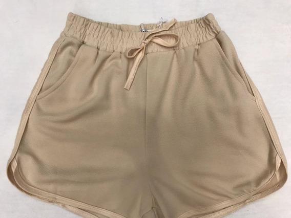 Shorts Feminino De Malha Com Bolsos Lisa Imprtado Promoção