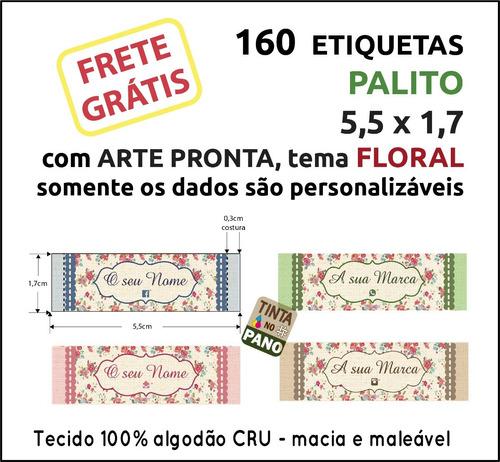 160 Etiquetas Tema Floral C/ Nome Personalizado Algodão Cru.