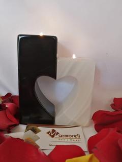 Portavelas Corazón Onix Blanco Y Mármol Negro. San Valentin