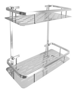 Organizador Aluminio Con Ganchos Para Baño Aluminio