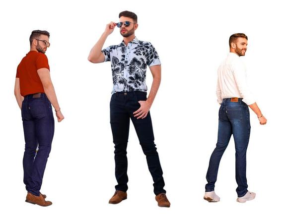 Calça Skinning Masculina Jeans C/ Laycra Kit 3 Peças E Frete