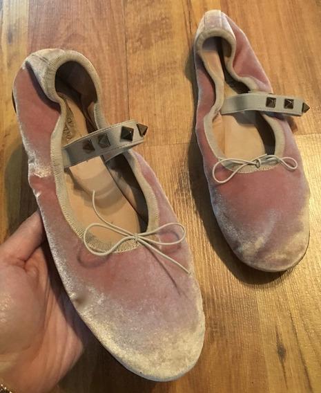 Zapatos Valentino Rockstud Lace Ballet Ballerina Suede 24!!