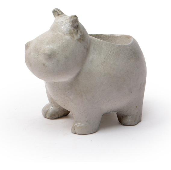 Vaso Decorativo Cachepot Cimento Floreira Hipopótamo