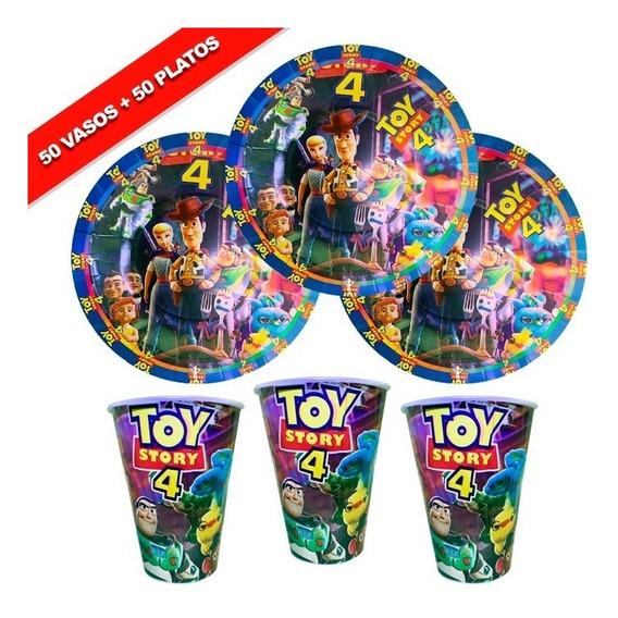 Toy Story 4 50 Platos Y 50 Vasos Fiesta