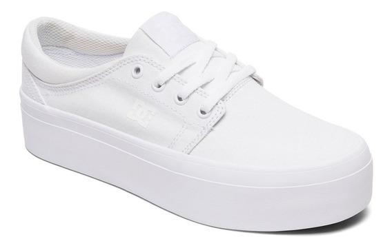 Zapatillas Dc Shoes Mod Trase Plataforma Tx Blanco