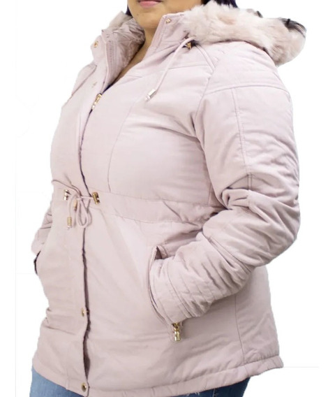 Parka Peluciada Feminina Plus Size Sobretudo Inverno Forrada