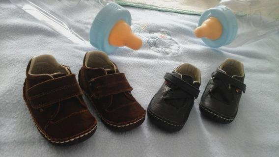 Dos Pares De Zapatos Pocholin Para Bebes, Talla 19 Com 14
