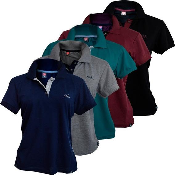 Kit 5 Camisas Polo Pique Feminina Bordada