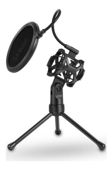 Suporte Pedestal Microfone + Shock Mount Aranha + Pop Filter Filtro P/ Bm800 Sf-666 Mtg-020