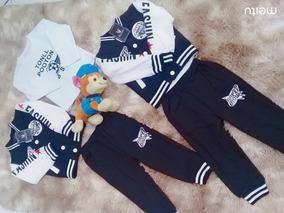 Conjunto Menino Com 3 Peças Jaqueta Camiseta Calca Rf 6017