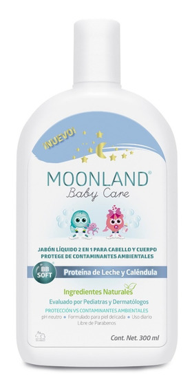 Moonland Jabón Líquido Para Bebé Cabello Y Cuerpo 2 En 1