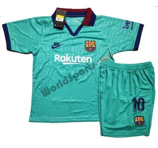 Kit Conjunto Infantil Barcelona Messi 19/20 - Frete Grátis