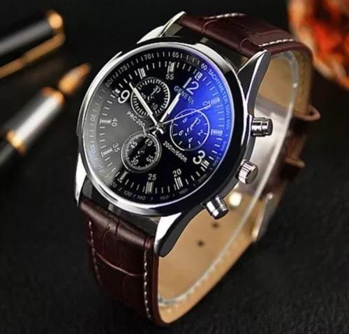 Relógio Geneva Masculino Luxo De Couro