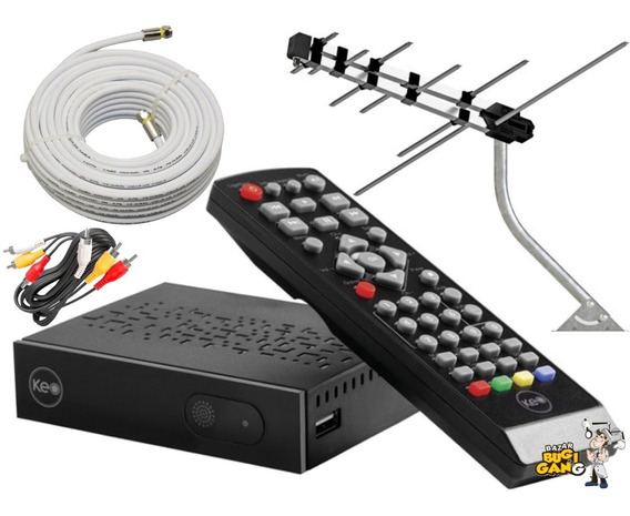 Kit Conversor Digital Full Hd + Antena Externa + 8m Cabo
