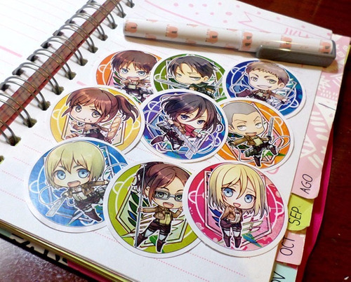 Set De 9 Stickers Circulares De Anime - Shingeki No Kyojin
