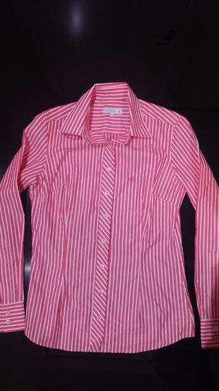 Camisa Dudalina Feminina Original - Listrada Branco E Rosa