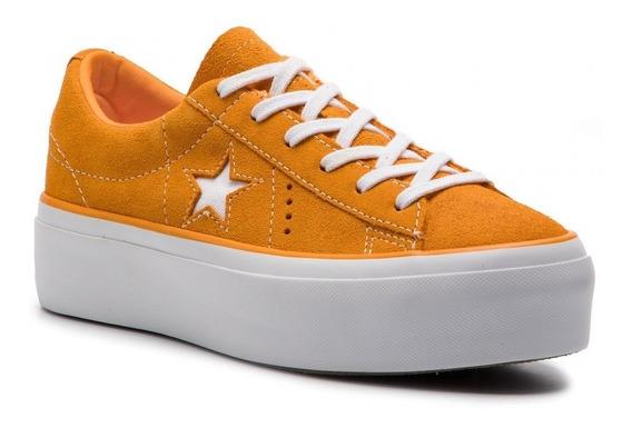 Zapatillas Converse One Star Naranja Plataforma