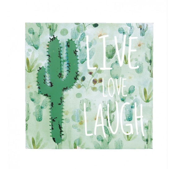 Quadro Decorativo Canvas Cacto Metal Live Love Laugh 40x40cm