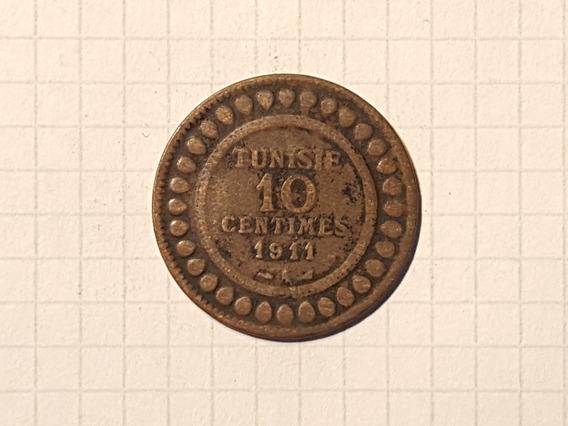 Tunez 10 Centimos 1911 A Muy Escasa