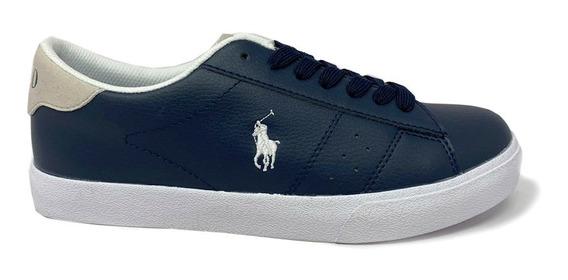 Tenis Polo Ralph Lauren Unisex Color Azul Marino Con Beige