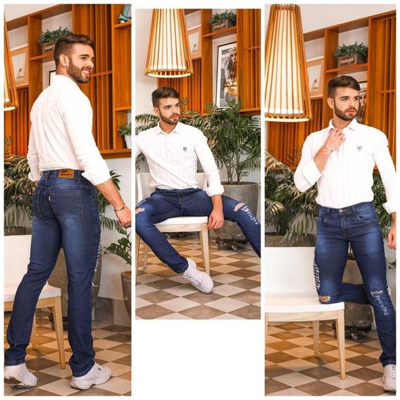 Calça Jeans Masculina Skinny Slim Desfiada Promoção Limitada Envio Imediato