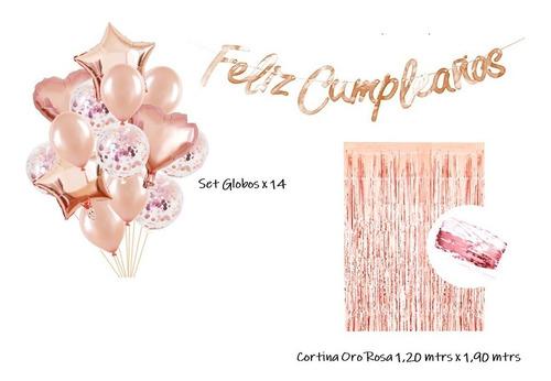 Kit Cumpleaños Oro Rosa Cortina + Globos + Letrero