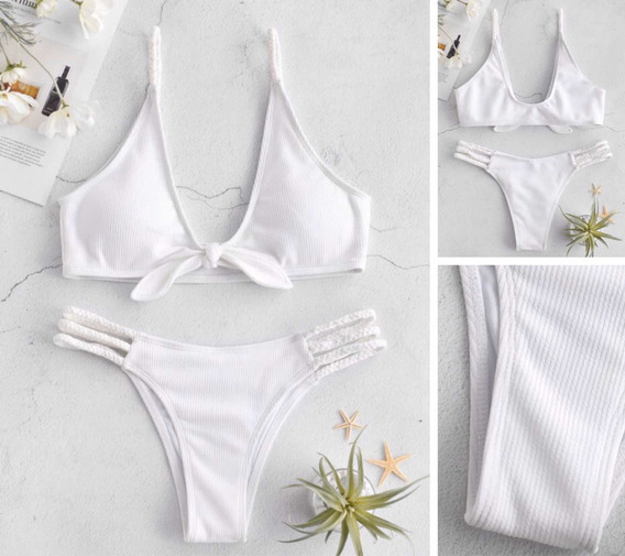 Bikini Blanco Con Nudo Zaful - Size S
