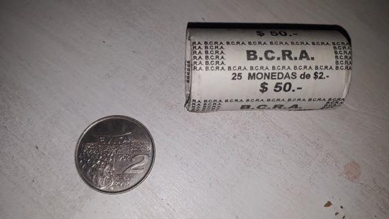 Tubo Monedas Cerrado Eva Peron 2 Pesos Argentina 2002