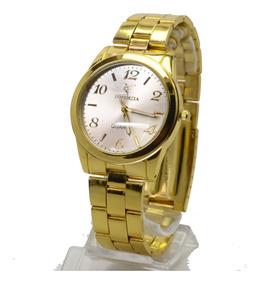 Relógio Feminino Pulseira Dourado Potenzia Resistente Água