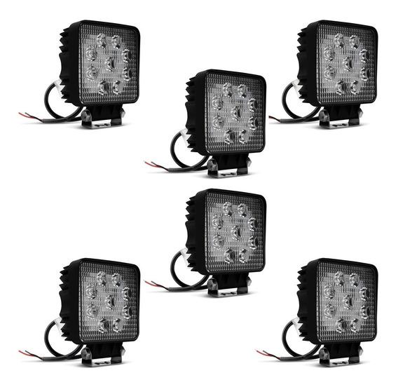 Kit C 6 Farol De Milha Shock Light Quadrado Universal 9 Leds