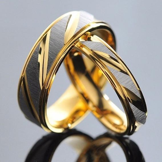 Aliança Aço Cirúrgico Banhado Ouro 18k - Não Perde A Cor