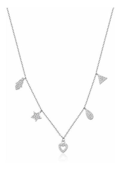 Gargantilha Colar Prata 925 Com Pingentes Coração Estrela