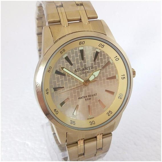 Relógio Masculino Atlantis G3473 Dourado Ouro Original Luxo