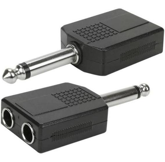 Plug Jack Mono Adaptador P10 Macho Para 2 P10 Femea (2uni)