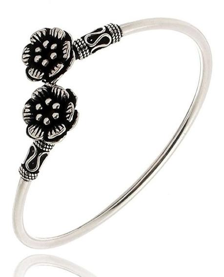 Pulseira Bracelete Feminino Prata De Bali Com Flores Joia 58