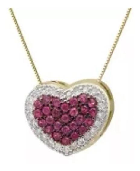 Colar Ouro 18k/750 Coração Com Rubis E Diamantes Naturais