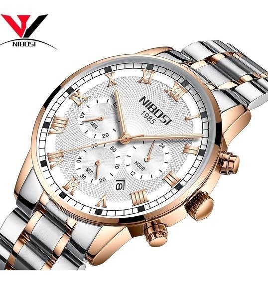 Nibosi Lujo Marca 2019 Reloj Hombres De Acero Acero Negocios