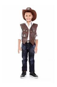 Colete Cowboy Com Chapeu Infantil Unissex,rodeio Kit 2 Pçs