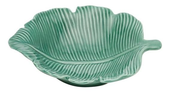 Folha Decorativa Em Porcelana Prestige Pachira 14,5cm Verde
