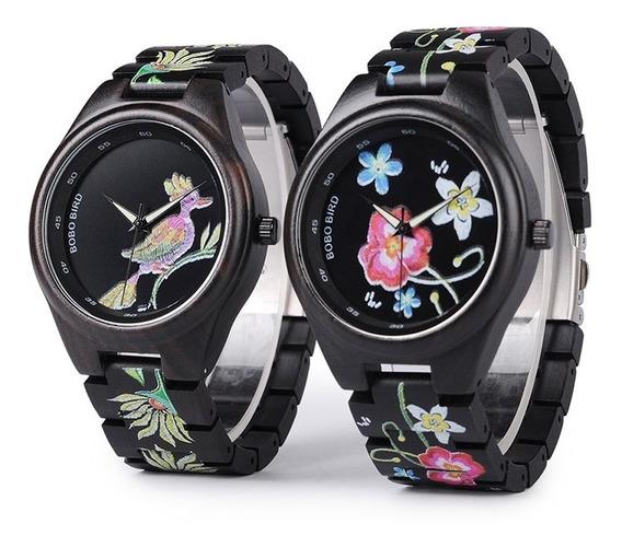 Relógio Feminino Madeira Anal. Bobo Bird P06 - Flor/pássaro