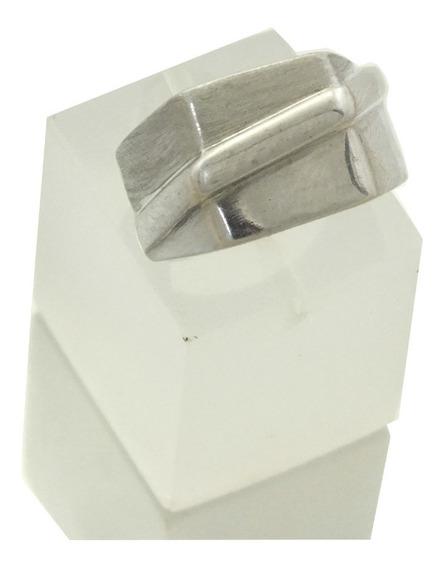 Anel Hexagonal Fosco Moderno Ouro Branco 18k Aro 18 J20636