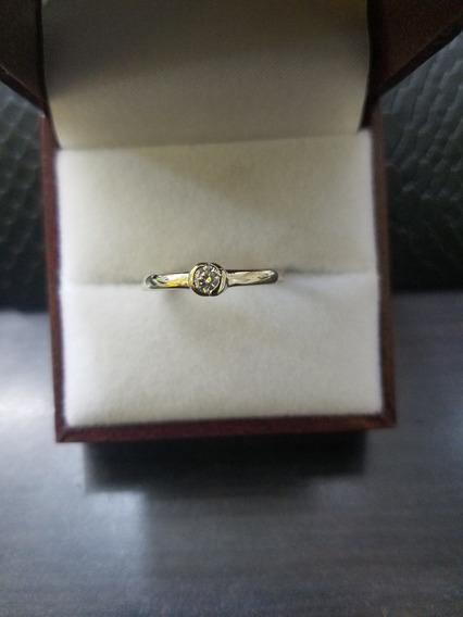 Anillo Oro Blanco 14k Con Diamantes Solitario Compromiso